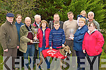 The Dog Trial Stake cup is presented to the Sullivan's and Nelligan's From Tullig Castleisland at the Castleisland Coursing meeting on Monday l-r: Con Roche, Magella Riordain, John O'Carroll, Patsy Curtin, Linda Kissane, Neilie Nolan, Jack McAulliffe, Sean O'Sullivan, Shauna Riordain, Margaret, Dave and Mary Nelligan