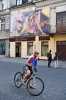 Europe/Pologne/Lodz: la rue Piotrkowska plus longue rue pietonne de Pologne - cycliste
