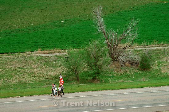 Mormon Trail Wagon Train seen from the top of a grain elevator at Jack's Bean Company.<br />