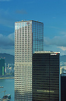 Skylines at the main business district in Hong Kong. Cheung Kong Building (left) and CitiGroup Building (right)..