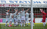 Celebrations after a penalty shootout win during the 'Greatest Show on Turf' Celebrity Event - Once in a Blue Moon Events at the London Borough of Barking and Dagenham Stadium, London, England on 8 May 2016. Photo by Andy Rowland.