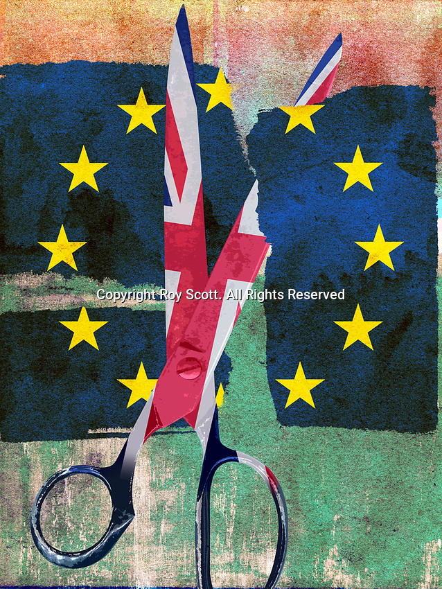 Union Jack scissors cutting European Union flag