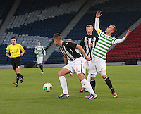 John Herron puts his arms up as Kerr Young gets the ball in the Dunfermline Athletic v Celtic Scottish Football Association Youth Cup Final match played at Hampden Park, Glasgow on 1.5.13. ..