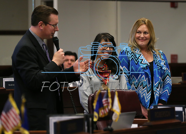 Nevada Sen. Ben Kieckhefer, R-Reno, introduces guests on the Senate floor at the Legislative Building in Carson City, Nev., on Thursday, Feb. 28, 2013..Photo by Cathleen Allison