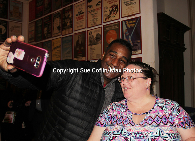 "All My Children's Norm Lewis stars in the musical  The Music Man as ""Harold Hill"" and poses with Vikki at the Eisenhower Theater at the  John F. Kennedy Center for the Performing Arts, Washington D.C. in a sold out run and photos were taken on February 10, 2019 in the green room.  (Photo by Sue Coflin/Max Photo)"