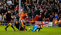 Blackpool's Armand Gnanduillet beats Sunderland's Jon McLaughlin but sees his shot cleared off the line<br /> <br /> Photographer Alex Dodd/CameraSport<br /> <br /> The EFL Sky Bet League One - Blackpool v Sunderland - Tuesday 1st January 2019 - Bloomfield Road - Blackpool<br /> <br /> World Copyright © 2019 CameraSport. All rights reserved. 43 Linden Ave. Countesthorpe. Leicester. England. LE8 5PG - Tel: +44 (0) 116 277 4147 - admin@camerasport.com - www.camerasport.com