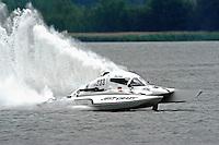 "John Krebs, NM-233 ""Just Crazy"" National Mod class hydroplane.Syracuse Hydrofest, Onondaga Lake, Syracuse, NY.20/21 June, 2009, Dayton, OH USA..©F. Peirce Williams 2009 USA.F.Peirce Williams.photography.ref: RAW (.NEF) File Available"