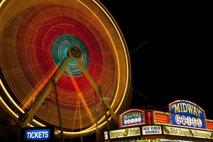 Austin, Texas Carnival Rides at Night