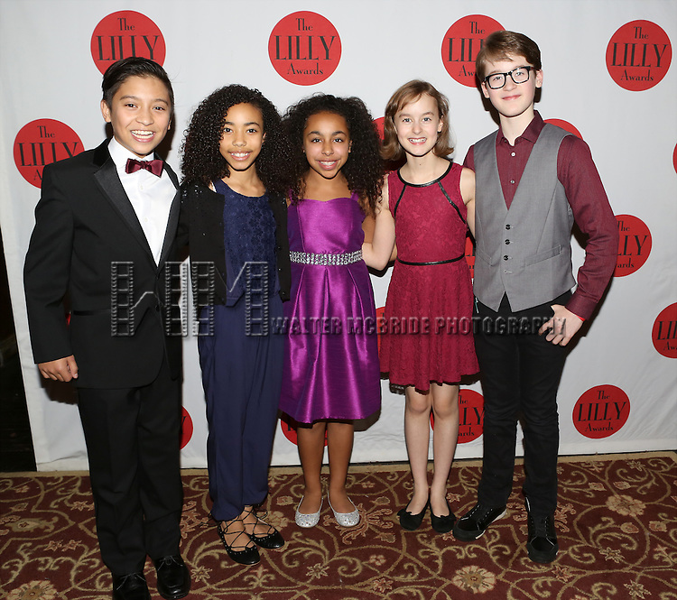 Bonale Fambrini, Akira Golz, Grace Capeless and Sydney Lucas and Jake Lucas backstage at The Lilly Awards Broadway Cabaret'   at The Cutting Room on November 9, 2015 in New York City.