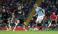 Manchester City's Kevin De Bruyne under pressure from Burnley's Jack Cork<br /> <br /> Photographer Rich Linley/CameraSport<br /> <br /> Emirates FA Cup Fourth Round - Manchester City v Burnley - Saturday 26th January 2019 - The Etihad - Manchester<br />  <br /> World Copyright © 2019 CameraSport. All rights reserved. 43 Linden Ave. Countesthorpe. Leicester. England. LE8 5PG - Tel: +44 (0) 116 277 4147 - admin@camerasport.com - www.camerasport.com