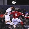 Luis Guillen #2 of Glen Cove, left, and Joseph Buglione #2 of South Side go up for a header during the Nassau County varsity boys soccer Class A final at Hofstra University on Wednesday, Nov. 2, 2016.