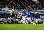 Phil Jagielka of Everton comes in on the back post only to volley high and wide during the premier league match at Goodison Park Stadium, Liverpool. Picture date 23rd April 2018. Picture credit should read: Simon Bellis/Sportimage