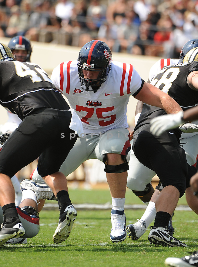 MATT HALL, of the Ole Miss Rebels, in action during the  Ole Miss game against the Vanderbilt Commodores on September 17, 2011 at Vanderbilt Stadium in Nashville, TN. Vanderbilt beat Ole Miss 30-7.