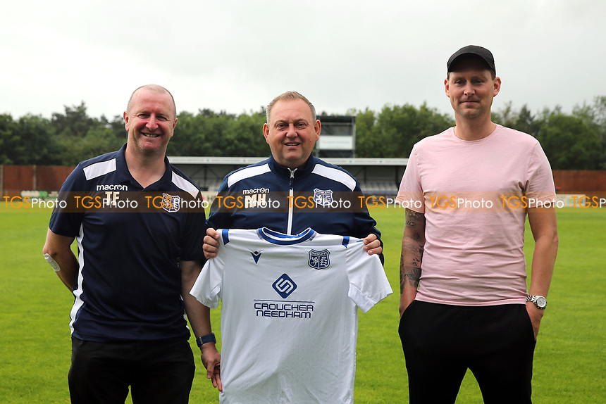 Enfield FC Assistant Manager Terry Fogarty, Enfield coaching staff Enfield FC Manager Matt Hanning, Enfield FC Assistant Manager Jim Duggan during a media event at Enfield FC on 27th June 2020