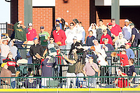 June 16th 2008:  Fans go for a ball during the Midwest League All-Star Home Run Derby at Dow Diamond in Midland, MI.  Photo by:  Mike Janes/Four Seam Images