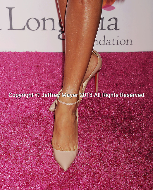 HOLLYWOOD, CA- SEPTEMBER 28: Actress Eva Longoria (shoe detail) at the Eva Longoria Foundation Dinner at Beso restaurant on September 28, 2013 in Hollywood, California.