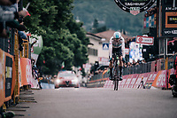 Chris Froome (GBR/SKY) crossing the finish line<br /> <br /> stage 16: Trento &ndash; Rovereto iTT (34.2 km)<br /> 101th Giro d'Italia 2018