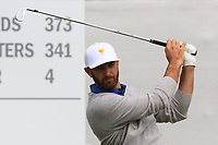 Dustin Johnson (USA) on the 1st tee during the Second Round - Foursomes of the Presidents Cup 2019, Royal Melbourne Golf Club, Melbourne, Victoria, Australia. 13/12/2019.<br /> Picture Thos Caffrey / Golffile.ie<br /> <br /> All photo usage must carry mandatory copyright credit (© Golffile | Thos Caffrey)