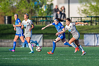Boston, MA - Sunday May 07, 2017: Rose Lavelle and Sam Witteman during a regular season National Women's Soccer League (NWSL) match between the Boston Breakers and the North Carolina Courage at Jordan Field.