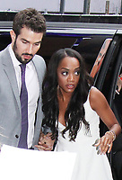 NEW YORK, NY - AUGUST 8:  Rachel Lindsay and Bryan Abasolo seen after an appearance on Good Morning America in NewYork City on August 8, 2017. <br /> CAP/MPI/RW<br /> &copy;RW/MPI/Capital Pictures