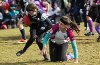 08 MAR 2015 - NOTTINGHAM, GBR - Players fight for a bludger during the 2015 British Quidditch Cup semi final between Radcliffe Chimeras and Loughborough Longshots at Woollaton Hall and Deer Park in Nottingham, Great Britain (PHOTO COPYRIGHT © 2015 NIGEL FARROW, ALL RIGHTS RESERVED)