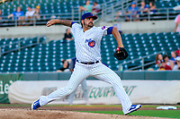 Iowa Cubs pitcher Williams Perez (39) delivers a pitch during game two of a Pacific Coast League doubleheader against the Colorado Springs Sky Sox on August 17, 2017 at Principal Park in Des Moines, Iowa. Iowa defeated Colorado Springs 6-0. (Brad Krause/Four Seam Images)