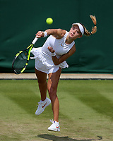 Katie Swan (GBR) in action during her match against Mihaela Buzarnescu (ROU)<br /> <br /> Photographer Rob Newell/CameraSport<br /> <br /> Wimbledon Lawn Tennis Championships - Day 3 - Wednesday 4th July 2018 -  All England Lawn Tennis and Croquet Club - Wimbledon - London - England<br /> <br /> World Copyright &not;&uml;&not;&copy; 2017 CameraSport. All rights reserved. 43 Linden Ave. Countesthorpe. Leicester. England. LE8 5PG - Tel: +44 (0) 116 277 4147 - admin@camerasport.com - www.camerasport.com