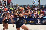 GULF SHORES, AL - MAY 07: Madalyn Roh (10) of Pepperdine University hits a return against the University of Southern California during the Division I Women's Beach Volleyball Championship held at Gulf Place on May 7, 2017 in Gulf Shores, Alabama. (Photo by Stephen Nowland/NCAA Photos via Getty Images)