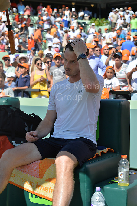 KEY BISCAYNE, FL - APRIL 05: Andy Murray of Great Britain looks exhausted and upset after being beat by Novak Djokovic of Serbia during the final on day 14 of the Miami Open at Crandon Park Tennis Center on April 5, 2015 in Key Biscayne, Florida.<br /> <br /> <br /> People:  Andy Murray<br /> <br /> Transmission Ref:  FLXX<br /> <br /> Must call if interested<br /> Michael Storms<br /> Storms Media Group Inc.<br /> 305-632-3400 - Cell<br /> 305-513-5783 - Fax<br /> MikeStorm@aol.com