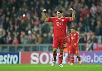FUSSBALL   CHAMPIONS LEAGUE   SAISON 2011/2012  Achtelfinale Rueckspiel 13.03.2012 FC Bayern Muenchen - FC Basel  SCHLUSSJUBEL des vierfachen Torschuetzen Mario Gomez (FC Bayern Muenchen)