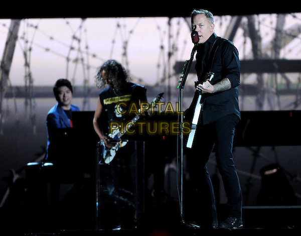 LOS ANGELES, CA - JANUARY 26 : Lang Lang (L), and Kirk Hammett and James Hetfield of Metalica perform onstage at The 56th Annual GRAMMY Awards at Staples Center on January 26, 2014 in Los Angeles, California.<br /> CAP/MPI/PG<br /> &copy;PGFMicelotta/MediaPunch/Capital Pictures