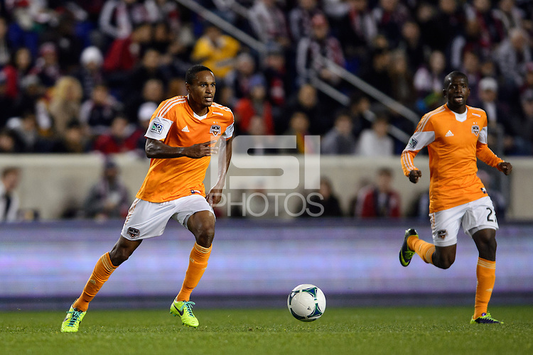 Ricardo Clark (13) of the Houston Dynamo. The Houston Dynamo defeated the New York Red Bulls 2-1 (4-3 on aggregate) in overtime of the second leg of the Major League Soccer (MLS) Eastern Conference Semifinals at Red Bull Arena in Harrison, NJ, on November 6, 2013.