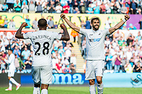 Fernando Llorente of Swansea City  and Luciano Narsingh Swansea City  celebrate during the Premier League match between Swansea City and West Bromwich Albion at The Liberty Stadium, Swansea, Wales, UK. Sunday 21 May 2017 (Photo by Athena Pictures/Getty Images)