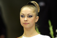 Valeriya Kurylskaya close portrait as team Belarus wins bronze at World Championships in Baku, Azerbaijan on October 6, 2005.  (Photo by Tom Theobald)