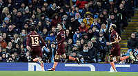 1899 Hoffenheim's Andrej Kramaric (centre) celebrates after scoring the opening goal from the penalty spot <br /> <br /> Photographer Rich Linley/CameraSport<br /> <br /> UEFA Champions League Group F - Manchester City v TSG 1899 Hoffenheim - Wednesday 12th December 2018 - The Etihad - Manchester<br />  <br /> World Copyright © 2018 CameraSport. All rights reserved. 43 Linden Ave. Countesthorpe. Leicester. England. LE8 5PG - Tel: +44 (0) 116 277 4147 - admin@camerasport.com - www.camerasport.com