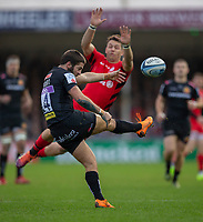 Exeter Chiefs' Santiago Cordero is almost charged down by Saracens' Alex Lewington<br /> <br /> Photographer Bob Bradford/CameraSport<br /> <br /> Gallagher Premiership Round 10 - Exeter Chiefs v Saracens - Saturday 22nd December 2018 - Sandy Park - Exeter<br /> <br /> World Copyright &copy; 2018 CameraSport. All rights reserved. 43 Linden Ave. Countesthorpe. Leicester. England. LE8 5PG - Tel: +44 (0) 116 277 4147 - admin@camerasport.com - www.camerasport.com