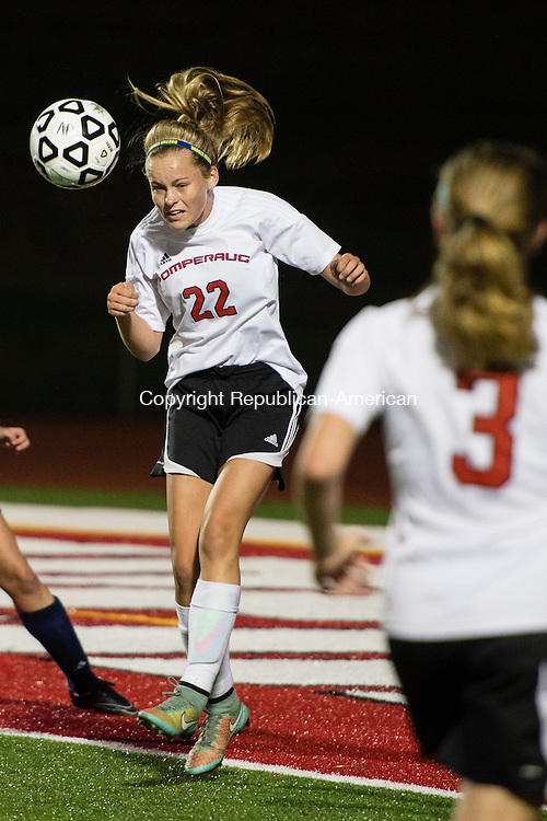 SOUTHBURY, CT - 24 September 2015-092415EC06-- Action man. Pomperaug's Hannah Broderick  heads the ball Thursday night against Weston. Erin Covey Republican-American.