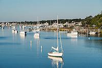 Sailboat in Bass River, Yarmouth, Cape Cod, Massachusetts, USA
