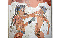 Minoan 'Boxing Children' fresco Wall painting from Akrotiri, Thira (Santorini). National archaeological Musuem Athens artefact. 17th-16th cent BC.<br /> <br /> The 'Boxing Children' fresco depicts two naked boys wearing belts and boxing gloves. Their heads are shaved but for two long locks at the back and two shorter ones on their forehead. Their dark complexion indicated thair gender. The boy on the left is the more reserved of the two and wears jewelry consisting of a necklace and two bracelets, one on his arm and the other around his ankle, which indicated his higher social status. From room B1 of building B.
