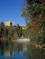 DEU, Deutschland, Bayern, Oberbayern, Allgaeu, Hohenschwangau: Schloß Hohenschwangau am Alpsee | DEU, Germany, Bavaria, Upper Bavaria, Allgaeu, Hohenschwangau: castle Hohenschwangau at Alp Lake