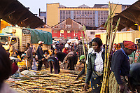 A woman buying fresh sugar cane at Wakulima market in Nairobi, Kenya