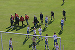Faroe Islands 0 Scotland 2, 06/06/2007. Svangaskard, Toftir, Euro 2008 Qualifying. A Faroese player being carried from the field on a stretcher during the Euro 2008 group B qualifying match at the Svangaskard stadium in Toftir between the Faroe Islands and Scotland. The visitors won the match by 2 goals to nil to stay in contention for a place at the European football championships which were to be held in Switzerland and Austria in the Summer of 2008. It was the first time Scotland had won in the Faroes, the previous two matches ended in draws. Photo by Colin McPherson.