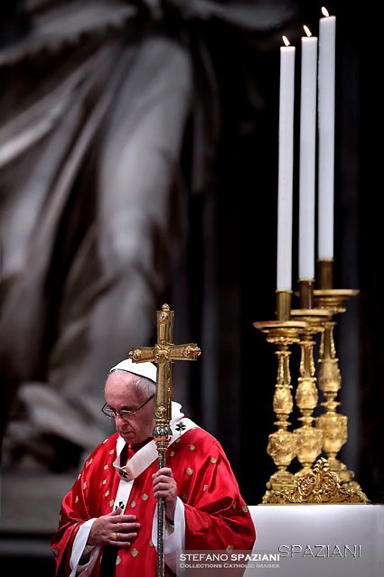 Pope Francis during the holy mass of Pentecost Sunday in Saint Peter's Basilica at the Vatican on 15 May 2016
