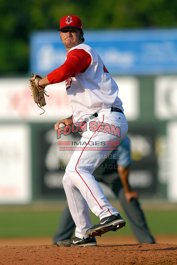 Pitcher Tyler Wilson #45 of the Lowell Spinners during a game versus the Connecticut Tigers at LeLacheur Park in Lowell, Massachusetts on June 18, 2011. (Ken Babbitt/Four Seam Images)