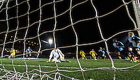 Goalkeeper Matt Ingram of Wycombe Wanderers makes a late save during the Sky Bet League 2 match between Wycombe Wanderers and Oxford United at Adams Park, High Wycombe, England on 19 December 2015. Photo by Andy Rowland.