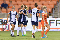 Houston, TX - Saturday July 15, 2017: Estelle Johnson celebrates her goal with Kristie Mewis during a regular season National Women's Soccer League (NWSL) match between the Houston Dash and the Washington Spirit at BBVA Compass Stadium.