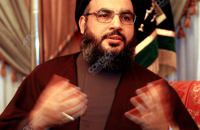 For the attention of foreign pix-For story by Neil MacFarquhar-Sayyid Hassan Nasrullah, secretary general of Hezbollah, made a point during an interview at his office in south Beirut, Lebanon.<br />