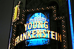 Opening Night Theatre Marquee - The musical Young Frankenstein, which features music by Mel Brooks, book by Brooks and Thomas Meehan based on Brooks' 1974 film, and direction and choreography by Susan Stroman. Hilton Theatre in New York City..October 27, 2007.© Walter McBride /  .