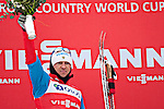 HOLMENKOLLEN, OSLO, NORWAY - March 16: Winner Alexander Legkov of Russia (RUS) celebrates his 1st place during the prize giving ceremony of the Men 50 km mass start, free technique, at the FIS Cross Country World Cup on March 16, 2013 in Oslo, Norway. (Photo by Dirk Markgraf)