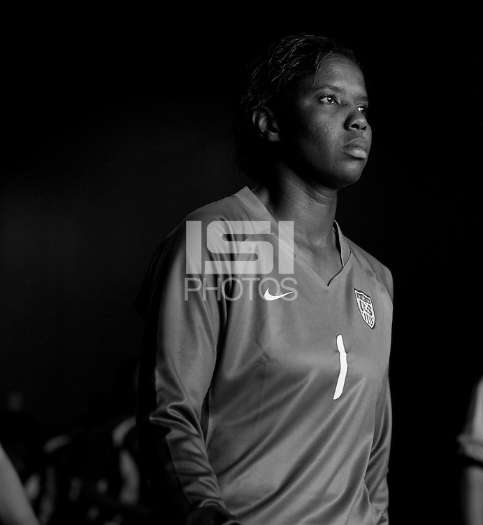 Briana Scurry readies to enter the field. USA defeated Brazil 2-0 at Giants Stadium on Sunday, June 23, 2007.